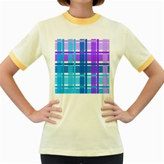 Gingham Pattern Blue Purple Shades Women s Fitted Ringer T Shirts