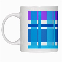 Gingham Pattern Blue Purple Shades White Mugs
