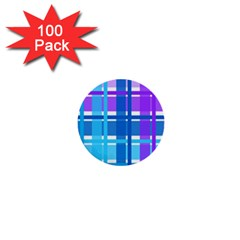 Gingham Pattern Blue Purple Shades 1  Mini Buttons (100 Pack)