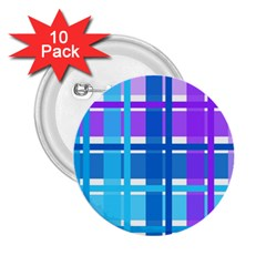 Gingham Pattern Blue Purple Shades 2 25  Buttons (10 Pack)