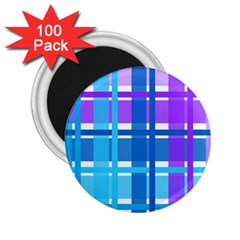 Gingham Pattern Blue Purple Shades 2 25  Magnets (100 Pack)