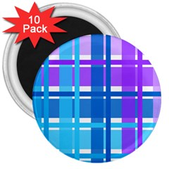 Gingham Pattern Blue Purple Shades 3  Magnets (10 Pack)