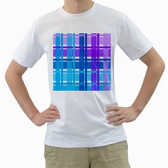 Gingham Pattern Blue Purple Shades Men s T Shirt (white) (two Sided)