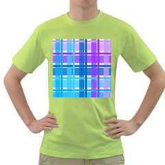Gingham Pattern Blue Purple Shades Green T Shirt