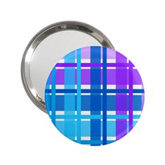 Gingham Pattern Blue Purple Shades 2 25  Handbag Mirrors