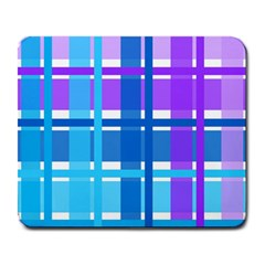 Gingham Pattern Blue Purple Shades Large Mousepads