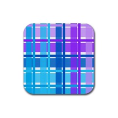 Gingham Pattern Blue Purple Shades Rubber Square Coaster (4 pack)