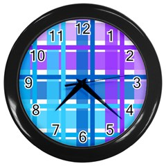 Gingham Pattern Blue Purple Shades Wall Clocks (black)