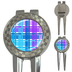 Gingham Pattern Blue Purple Shades 3 In 1 Golf Divots