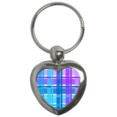 Gingham Pattern Blue Purple Shades Key Chains (heart)