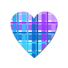 Gingham Pattern Blue Purple Shades Heart Magnet