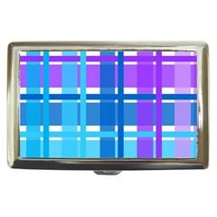 Gingham Pattern Blue Purple Shades Cigarette Money Cases
