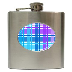 Gingham Pattern Blue Purple Shades Hip Flask (6 Oz)