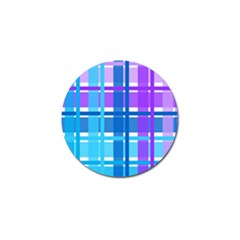 Gingham Pattern Blue Purple Shades Golf Ball Marker (4 Pack)