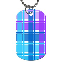 Gingham Pattern Blue Purple Shades Dog Tag (two Sides)
