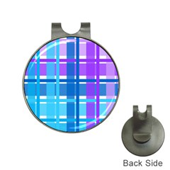 Gingham Pattern Blue Purple Shades Hat Clips With Golf Markers