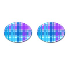 Gingham Pattern Blue Purple Shades Cufflinks (Oval)