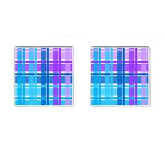 Gingham Pattern Blue Purple Shades Cufflinks (square)