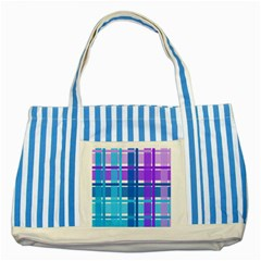 Gingham Pattern Blue Purple Shades Striped Blue Tote Bag