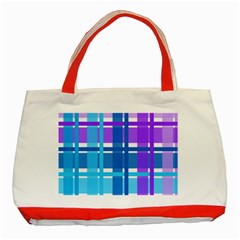 Gingham Pattern Blue Purple Shades Classic Tote Bag (Red)