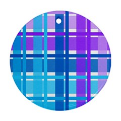 Gingham Pattern Blue Purple Shades Round Ornament (Two Sides)