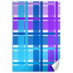 Gingham Pattern Blue Purple Shades Canvas 20  X 30