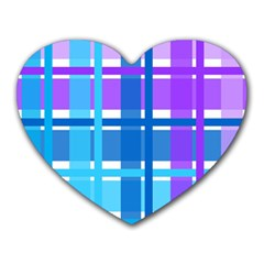 Gingham Pattern Blue Purple Shades Heart Mousepads