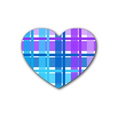 Gingham Pattern Blue Purple Shades Heart Coaster (4 Pack)