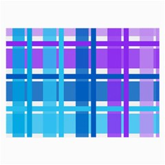 Gingham Pattern Blue Purple Shades Large Glasses Cloth (2-Side)