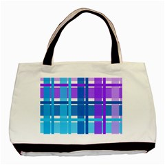 Gingham Pattern Blue Purple Shades Basic Tote Bag (two Sides)