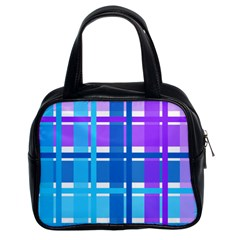 Gingham Pattern Blue Purple Shades Classic Handbags (2 Sides)