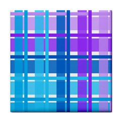 Gingham Pattern Blue Purple Shades Face Towel