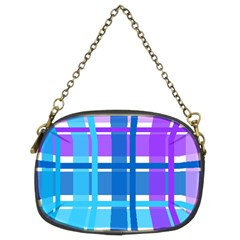 Gingham Pattern Blue Purple Shades Chain Purses (two Sides)