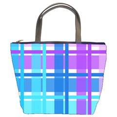 Gingham Pattern Blue Purple Shades Bucket Bags
