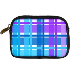 Gingham Pattern Blue Purple Shades Digital Camera Cases