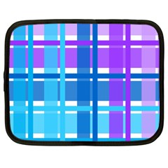 Gingham Pattern Blue Purple Shades Netbook Case (xl)