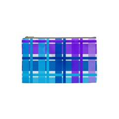 Gingham Pattern Blue Purple Shades Cosmetic Bag (small)