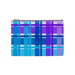 Gingham Pattern Blue Purple Shades Cosmetic Bag (medium)