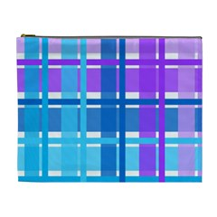 Gingham Pattern Blue Purple Shades Cosmetic Bag (xl)