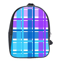 Gingham Pattern Blue Purple Shades School Bags(large)