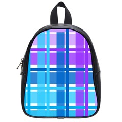 Gingham Pattern Blue Purple Shades School Bags (small)