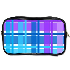 Gingham Pattern Blue Purple Shades Toiletries Bags