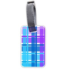 Gingham Pattern Blue Purple Shades Luggage Tags (two Sides)