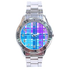 Gingham Pattern Blue Purple Shades Stainless Steel Analogue Watch