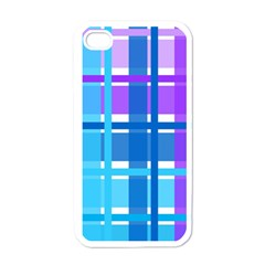 Gingham Pattern Blue Purple Shades Apple Iphone 4 Case (white)