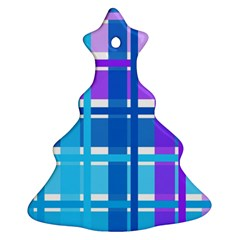 Gingham Pattern Blue Purple Shades Ornament (christmas Tree)