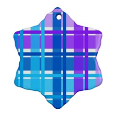 Gingham Pattern Blue Purple Shades Snowflake Ornament (two Sides)