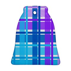 Gingham Pattern Blue Purple Shades Bell Ornament (two Sides)