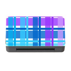 Gingham Pattern Blue Purple Shades Memory Card Reader With Cf