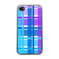Gingham Pattern Blue Purple Shades Apple Iphone 4 Case (clear)